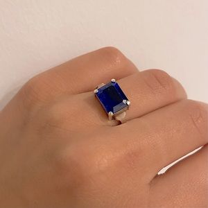 Sapphire Stone Silver Ring